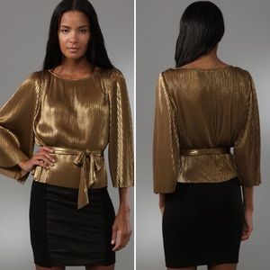 Halston Heritage Gold Accordion Top